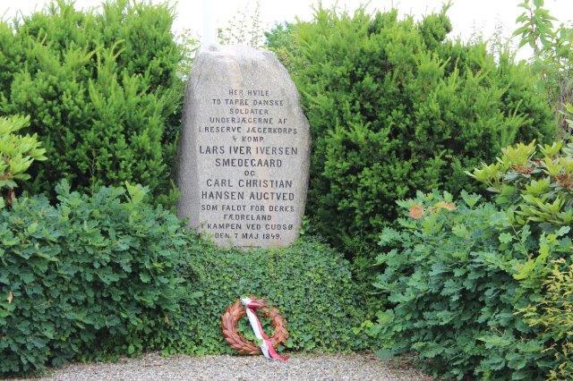 Teksten på gravstenen.