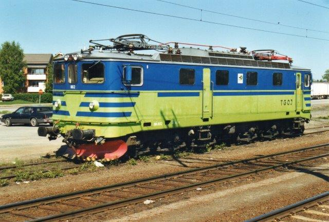 """TGOJ Ma 802 i Boden C 2002. For mange år siden sås samme lokomotiv i Eskilstuna som et """"ægte"""" TGOJ-lokomotiv."""