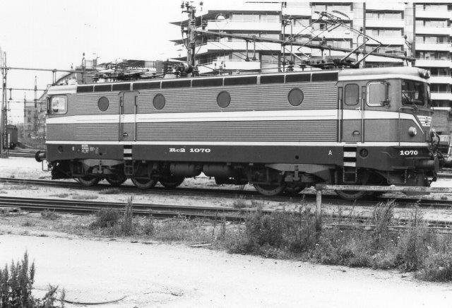SJ Rc2 1070 ved depotet ved Færgestationen i Helsingborg 1981.