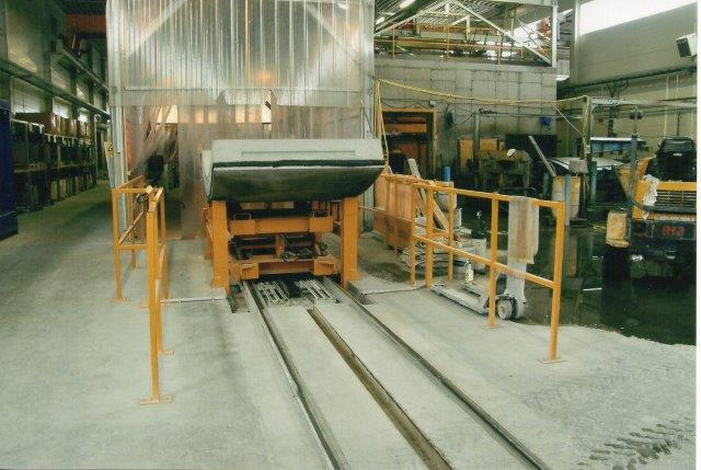 Endnu en modultype til skinnebunden transport af elementer på fabrikken. 2007.
