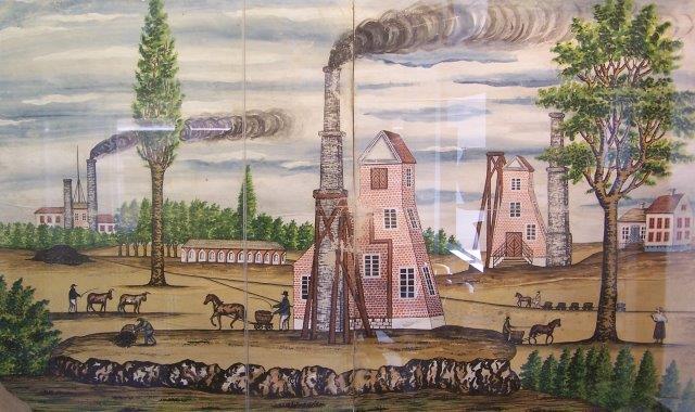 Tre tog og treskakter på et samtidigt maleri fra allerførst i 1800-tallet. Vognene er mindre, men den ene hest tækker mindst fire vogn? Tårnene indeholder elevatoren. Skorsten trækker dampmaskinen, der hejser kul os, og sikkert også pumper vand samt blæser frisk luft ned (en såkaldt vejrovn. oversat fra tysk.) En enkelt vogn skubbes også. Imellem gruberne pløjes med stude.