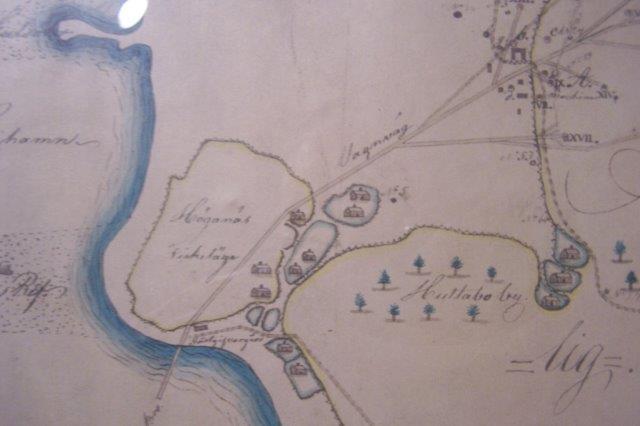 Fiskerlejet Höganäs med de førset gruber og det førset hestebaner mellem grube og havn. Kort far museet i Höganäs gengivet med tilladelse fra Museet.