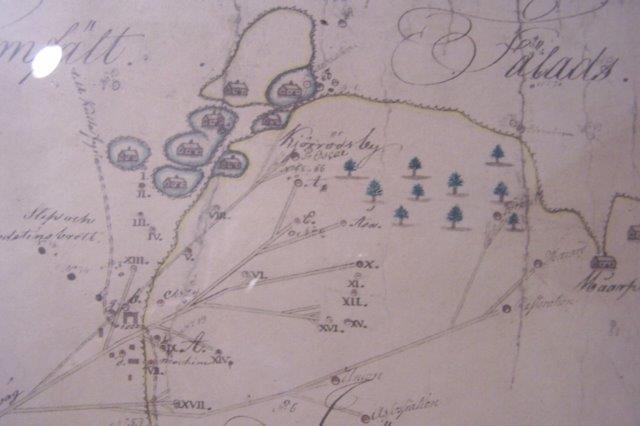 Grubeområdet. Kortet er samme kort som på foregående billede. Venstre nederset hjørnes spor kan genfindet på foregående foto i højre øverste hjørne. Kort Fra Höganäs Museum.