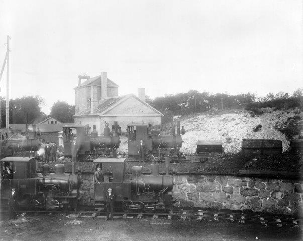 Fem af værkets 13 damplokomotiver i 762 mm opstillet ved remisen tidligt i 1930'erne. Fotoet er gengivet med tilladelse af Höganäs Museum.