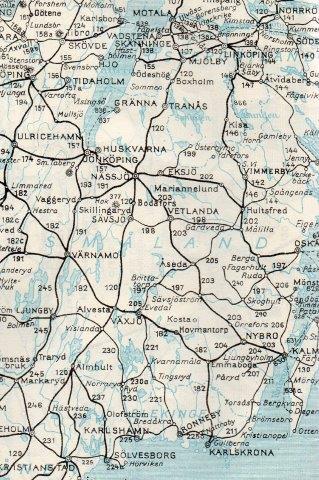 Smalspornettet ved Kalmar. 891 mm. Det førte fra Torsås i syd til Brittatorp på Västervik-banan, og vra Väservik videre over Åtviderberg til Nordköping, Arkösund, Valdemarsvik,Örebro, Vadstena tilÖdeshög. Sveriges Kommunikationer 1952.