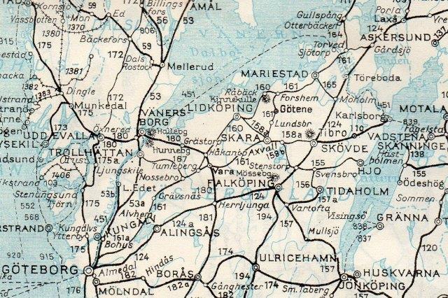 VGS er den tynde streg, 161 mellem Göteborg, Skara og Vara via Lidköping til Gullspång og Gårdsjö. Sveriges Kommunikationer 1952.