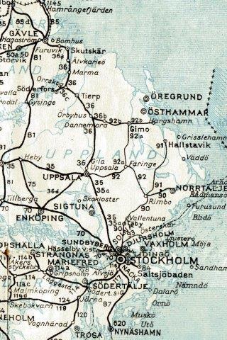 Roslagsbanen på Sveriges kommunikationer 1952.