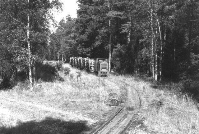 På vej tilbage nærmer toget sig jernbanebroen.