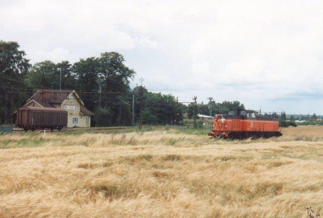 SJ T44 321 rangerer med to vogne til Fiskeby Board gennem en kornmark og returnerer nu tom. 1988.